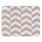 CHEVRON2 WHITE MARBLE & SAND Double Sided Flano Blanket (Large)  80 x60 Blanket Front