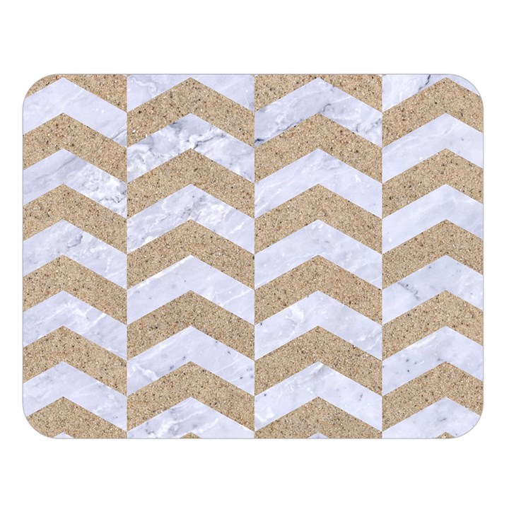 CHEVRON2 WHITE MARBLE & SAND Double Sided Flano Blanket (Large)