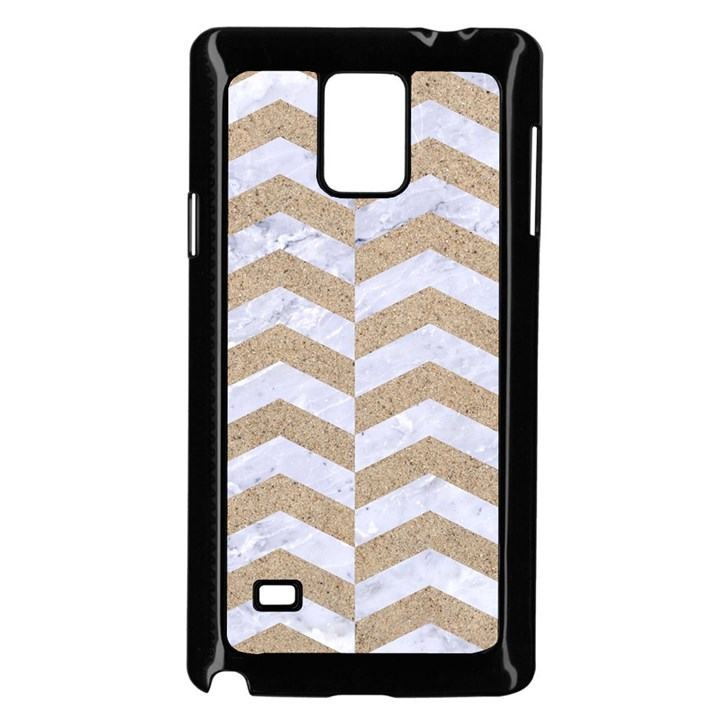 CHEVRON2 WHITE MARBLE & SAND Samsung Galaxy Note 4 Case (Black)