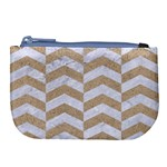 CHEVRON2 WHITE MARBLE & SAND Large Coin Purse Front