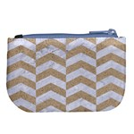 CHEVRON2 WHITE MARBLE & SAND Large Coin Purse Back