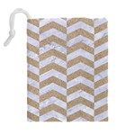 CHEVRON2 WHITE MARBLE & SAND Drawstring Pouches (Extra Large) Back