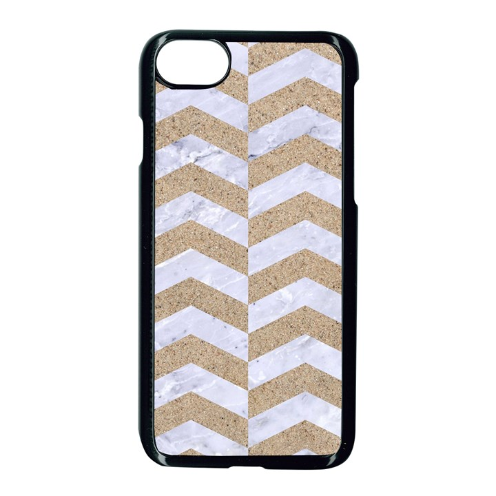 CHEVRON2 WHITE MARBLE & SAND Apple iPhone 8 Seamless Case (Black)