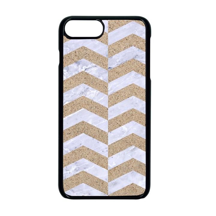 CHEVRON2 WHITE MARBLE & SAND Apple iPhone 8 Plus Seamless Case (Black)