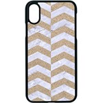 CHEVRON2 WHITE MARBLE & SAND Apple iPhone X Seamless Case (Black) Front
