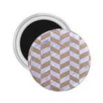 CHEVRON1 WHITE MARBLE & SAND 2.25  Magnets Front