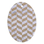 CHEVRON1 WHITE MARBLE & SAND Ornament (Oval) Front