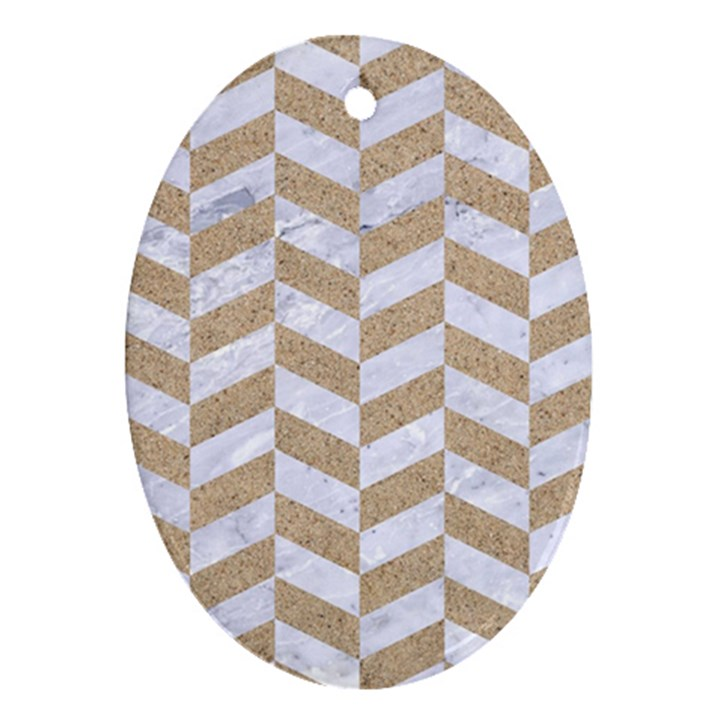 CHEVRON1 WHITE MARBLE & SAND Ornament (Oval)