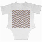 CHEVRON1 WHITE MARBLE & SAND Infant Creepers Back
