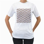 CHEVRON1 WHITE MARBLE & SAND Women s T-Shirt (White) (Two Sided) Front