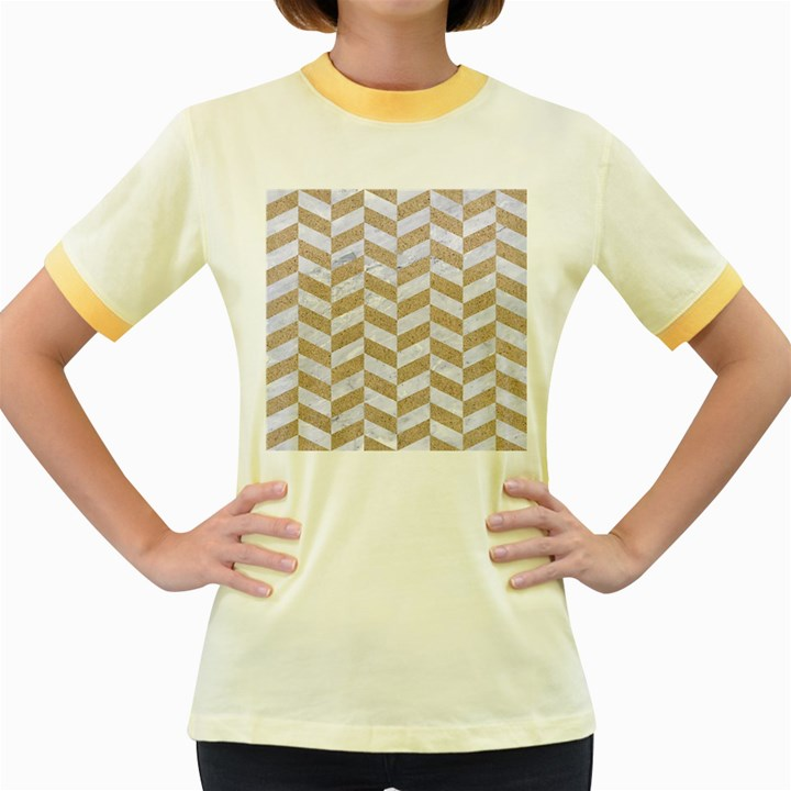 CHEVRON1 WHITE MARBLE & SAND Women s Fitted Ringer T-Shirts
