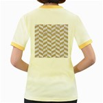 CHEVRON1 WHITE MARBLE & SAND Women s Fitted Ringer T-Shirts Back