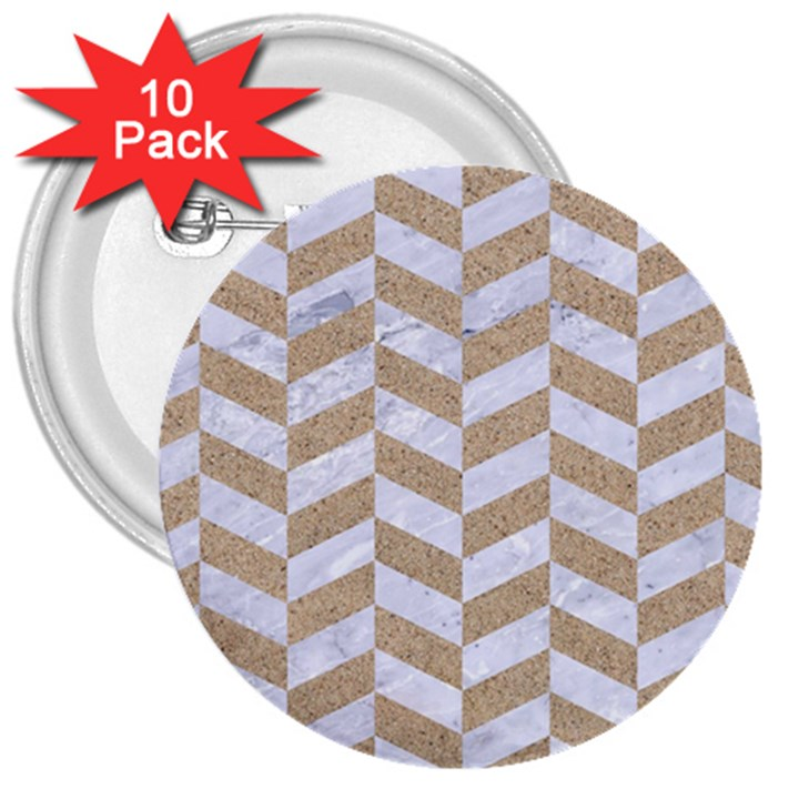 CHEVRON1 WHITE MARBLE & SAND 3  Buttons (10 pack)