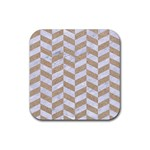 CHEVRON1 WHITE MARBLE & SAND Rubber Coaster (Square)  Front