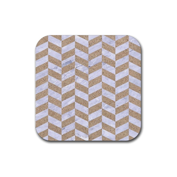 CHEVRON1 WHITE MARBLE & SAND Rubber Coaster (Square)