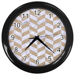CHEVRON1 WHITE MARBLE & SAND Wall Clocks (Black) Front