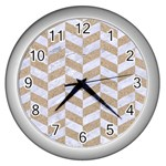 CHEVRON1 WHITE MARBLE & SAND Wall Clocks (Silver)  Front