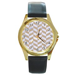 Chevron1 White Marble & Sand Round Gold Metal Watch