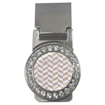 CHEVRON1 WHITE MARBLE & SAND Money Clips (CZ)  Front