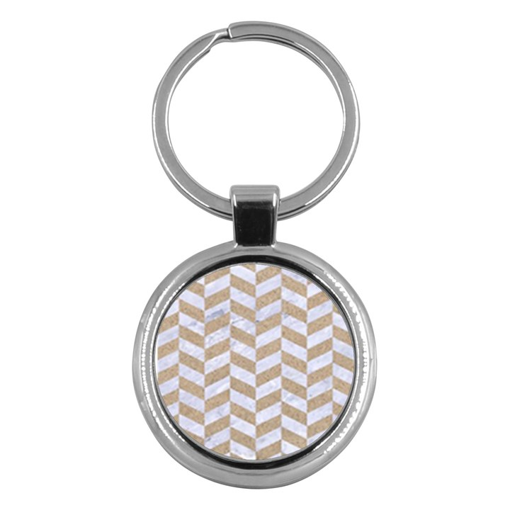 CHEVRON1 WHITE MARBLE & SAND Key Chains (Round)