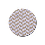 CHEVRON1 WHITE MARBLE & SAND Rubber Round Coaster (4 pack)  Front