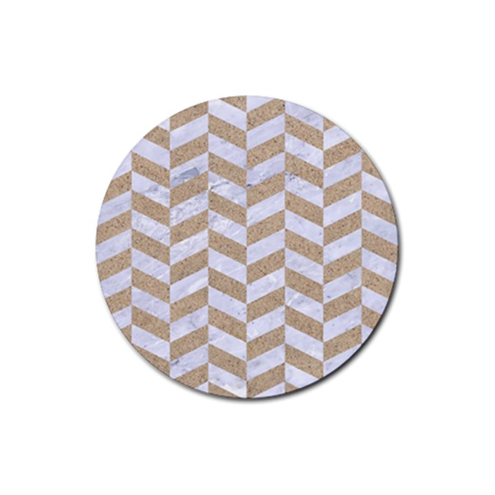 CHEVRON1 WHITE MARBLE & SAND Rubber Round Coaster (4 pack)