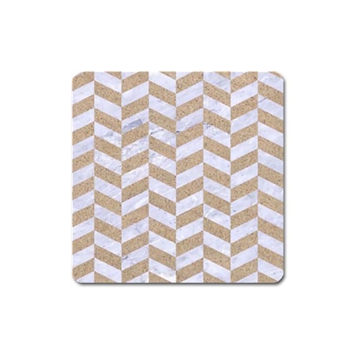 CHEVRON1 WHITE MARBLE & SAND Square Magnet