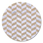 CHEVRON1 WHITE MARBLE & SAND Magnet 5  (Round) Front
