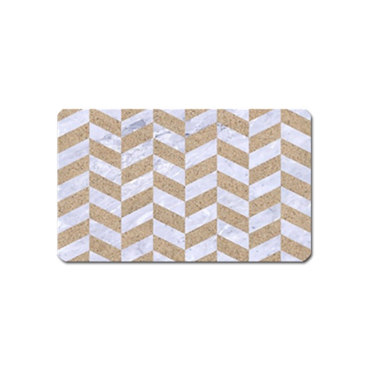 CHEVRON1 WHITE MARBLE & SAND Magnet (Name Card)