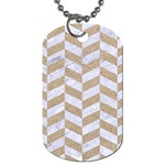 CHEVRON1 WHITE MARBLE & SAND Dog Tag (One Side) Front