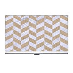CHEVRON1 WHITE MARBLE & SAND Business Card Holders Front