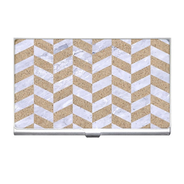 CHEVRON1 WHITE MARBLE & SAND Business Card Holders