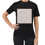CHEVRON1 WHITE MARBLE & SAND Women s T-Shirt (Black) (Two Sided) Front