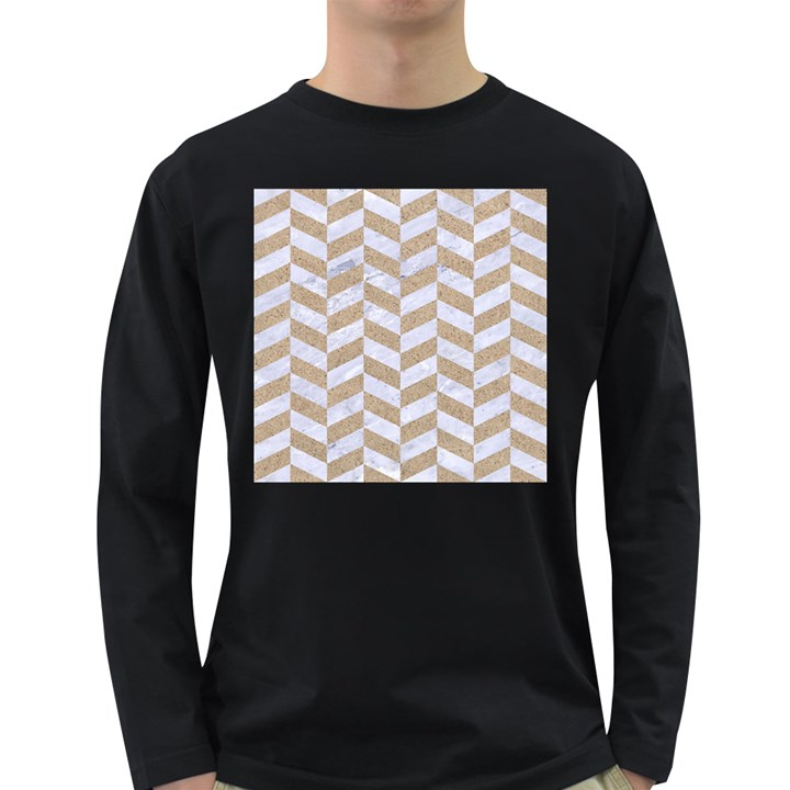 CHEVRON1 WHITE MARBLE & SAND Long Sleeve Dark T-Shirts
