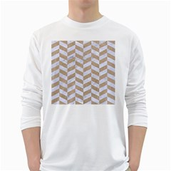Chevron1 White Marble & Sand White Long Sleeve T Shirts