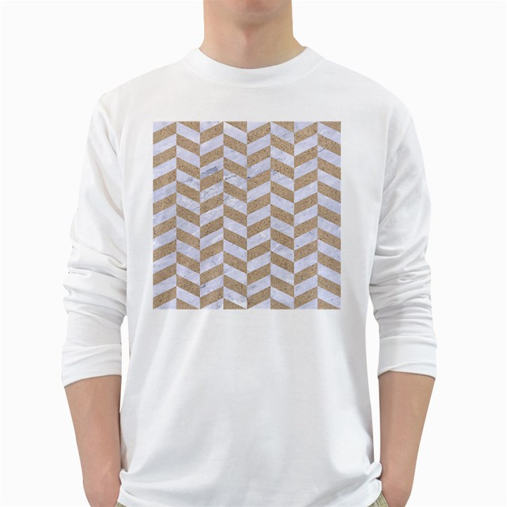 CHEVRON1 WHITE MARBLE & SAND White Long Sleeve T-Shirts