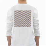 CHEVRON1 WHITE MARBLE & SAND White Long Sleeve T-Shirts Back