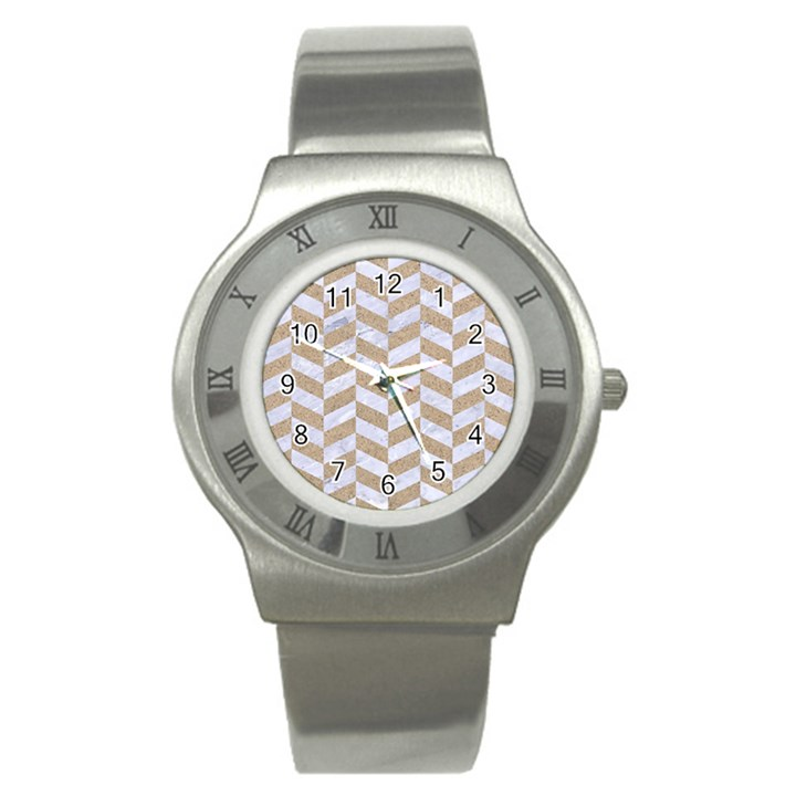 CHEVRON1 WHITE MARBLE & SAND Stainless Steel Watch