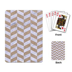 Chevron1 White Marble & Sand Playing Card