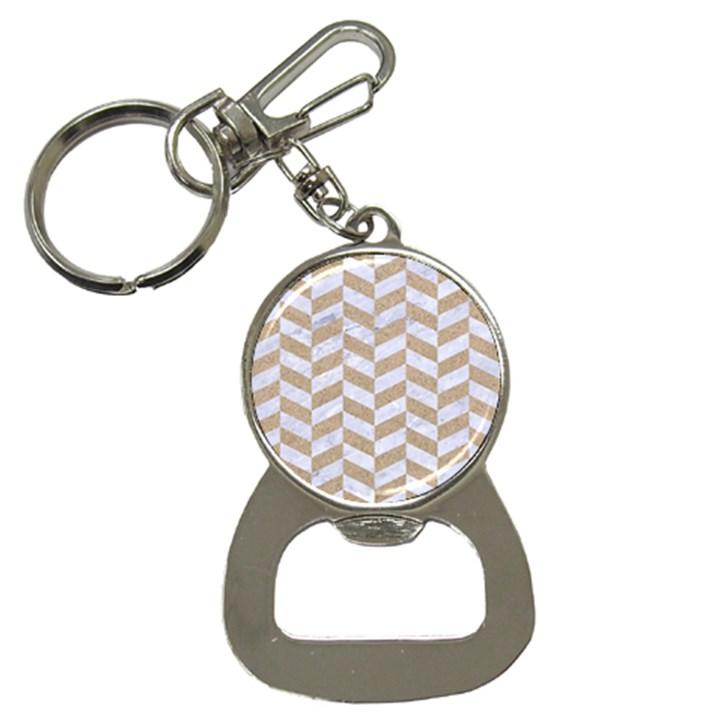CHEVRON1 WHITE MARBLE & SAND Button Necklaces