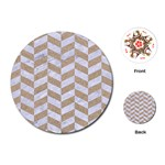 CHEVRON1 WHITE MARBLE & SAND Playing Cards (Round)  Front