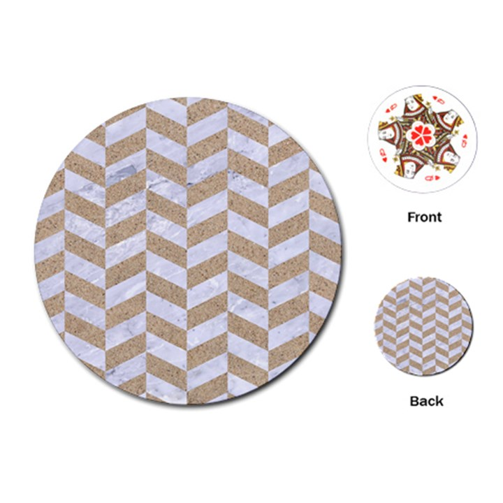 CHEVRON1 WHITE MARBLE & SAND Playing Cards (Round)