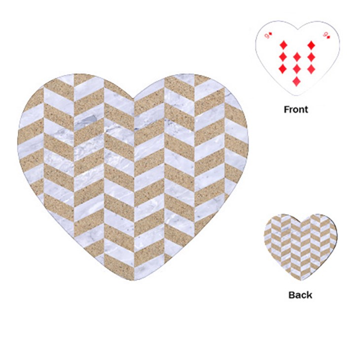 CHEVRON1 WHITE MARBLE & SAND Playing Cards (Heart)