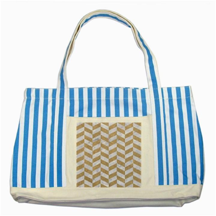 CHEVRON1 WHITE MARBLE & SAND Striped Blue Tote Bag