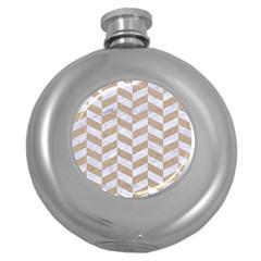 Chevron1 White Marble & Sand Round Hip Flask (5 Oz)