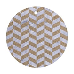 Chevron1 White Marble & Sand Round Ornament (two Sides)