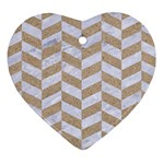 CHEVRON1 WHITE MARBLE & SAND Heart Ornament (Two Sides) Front
