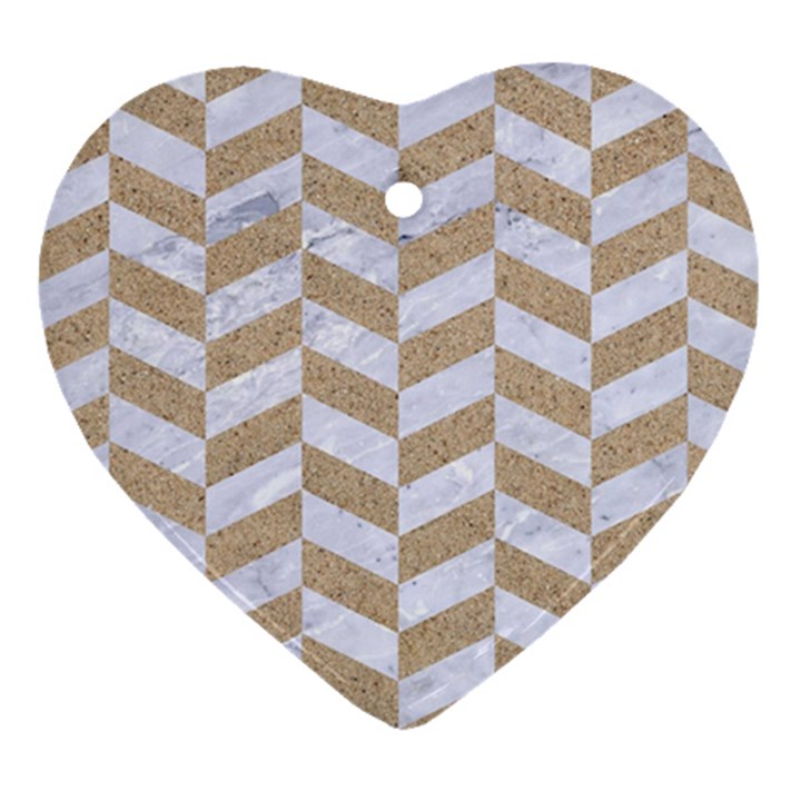 CHEVRON1 WHITE MARBLE & SAND Heart Ornament (Two Sides)