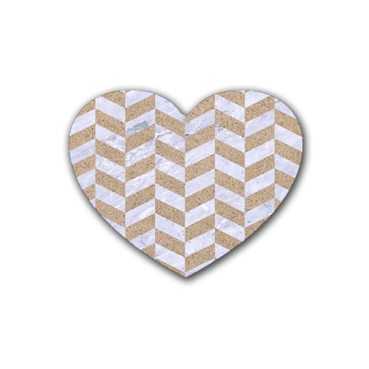 CHEVRON1 WHITE MARBLE & SAND Heart Coaster (4 pack)