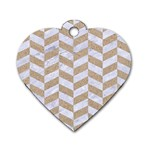 CHEVRON1 WHITE MARBLE & SAND Dog Tag Heart (One Side) Front